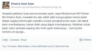 Posting anaknya menggunakan FB arwah.
